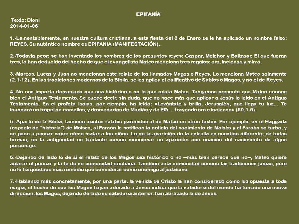 EPIFANÍA Texto: Dioni. 2014-01-06