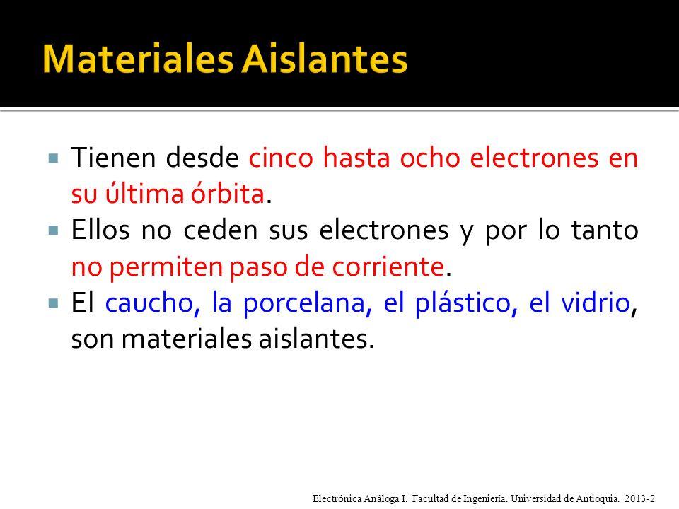 Materiales Aislantes Tienen desde cinco hasta ocho electrones en su última órbita.