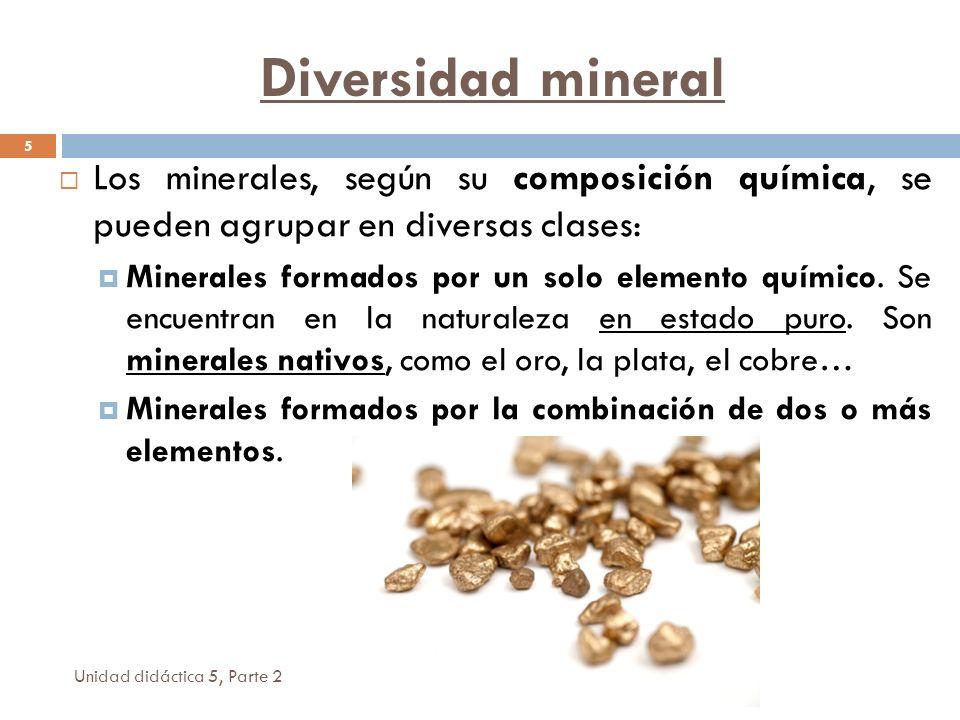 Diversidad mineral Los minerales, según su composición química, se pueden agrupar en diversas clases: