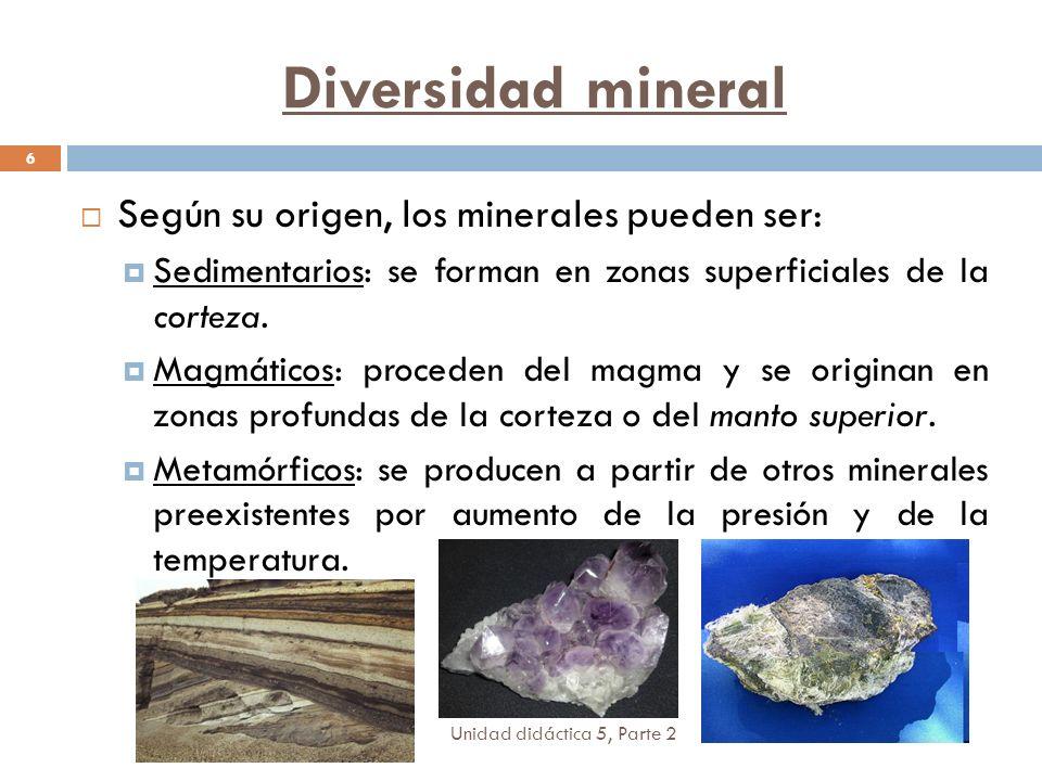 Diversidad mineral Según su origen, los minerales pueden ser: