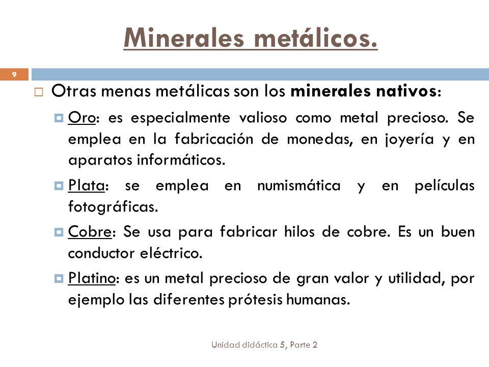 Minerales metálicos. Otras menas metálicas son los minerales nativos: