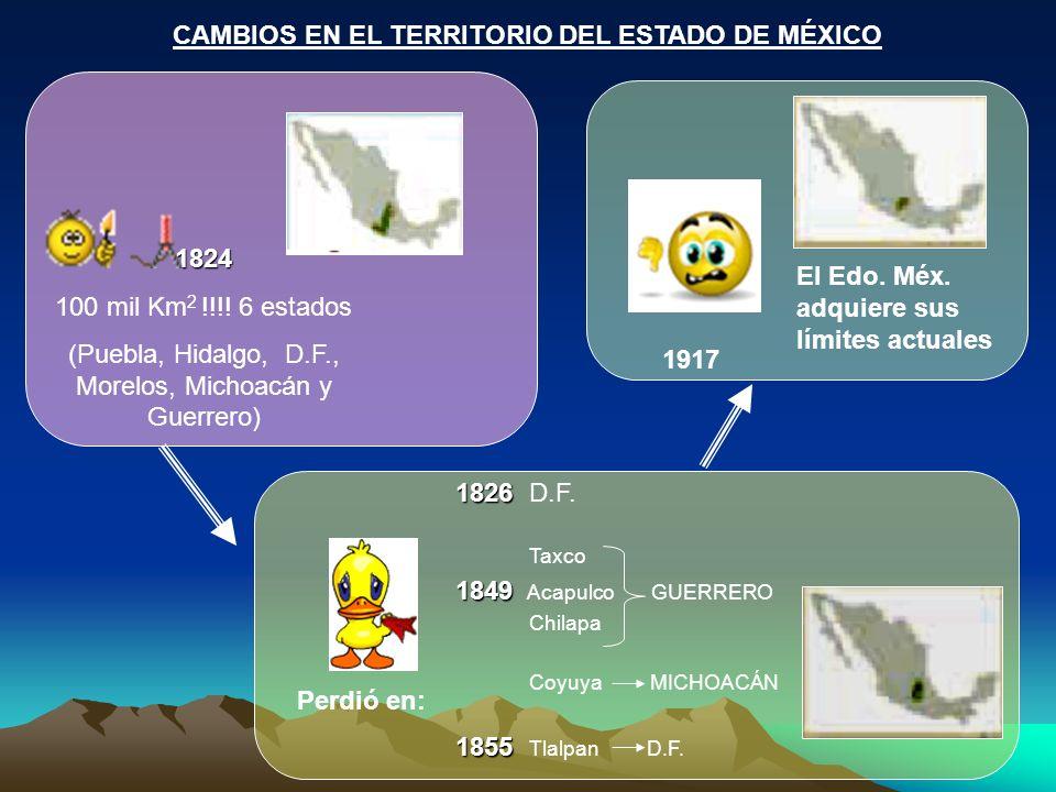 CAMBIOS EN EL TERRITORIO DEL ESTADO DE MÉXICO