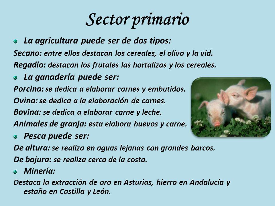 Sector primario La agricultura puede ser de dos tipos:
