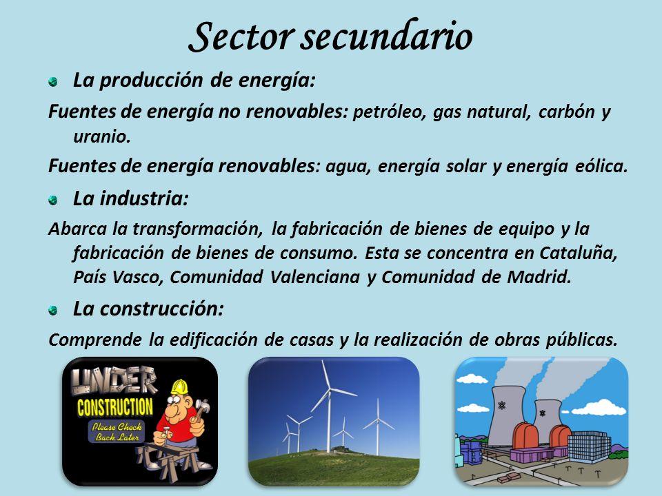 Sector secundario La producción de energía: La industria: