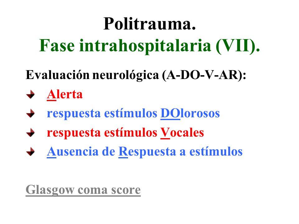 Politrauma. Fase intrahospitalaria (VII).