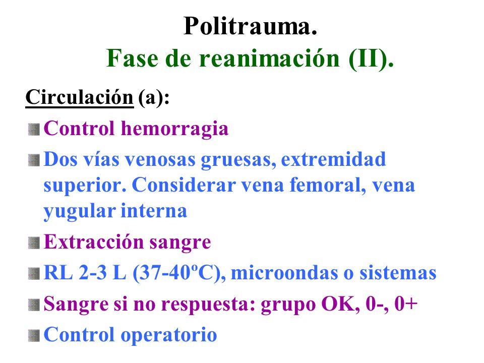Politrauma. Fase de reanimación (II).