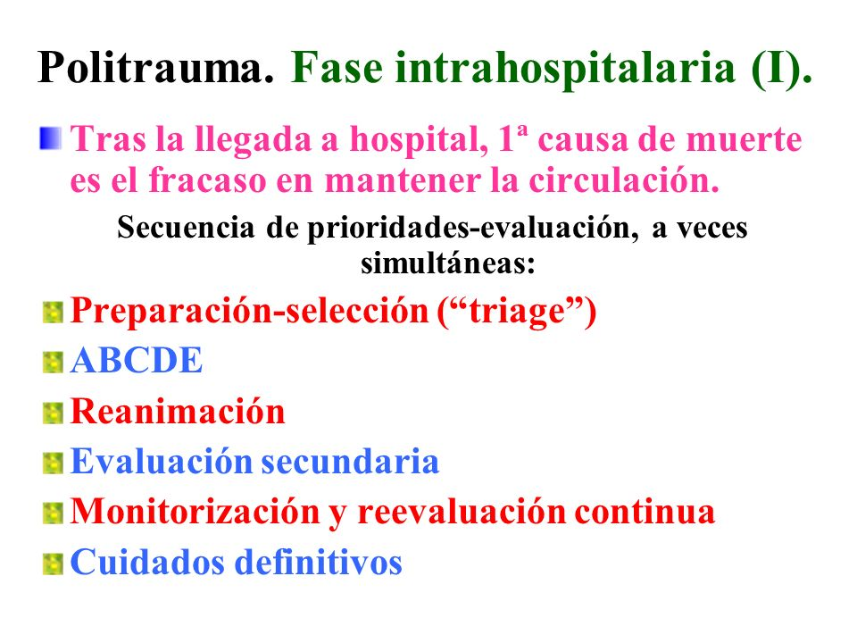 Politrauma. Fase intrahospitalaria (I).
