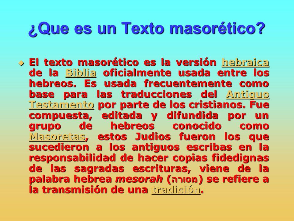 ¿Que es un Texto masorético