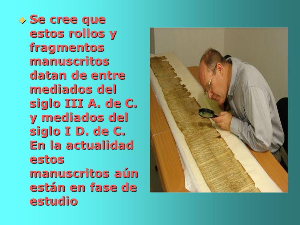 Se cree que estos rollos y fragmentos manuscritos datan de entre mediados del siglo III A.