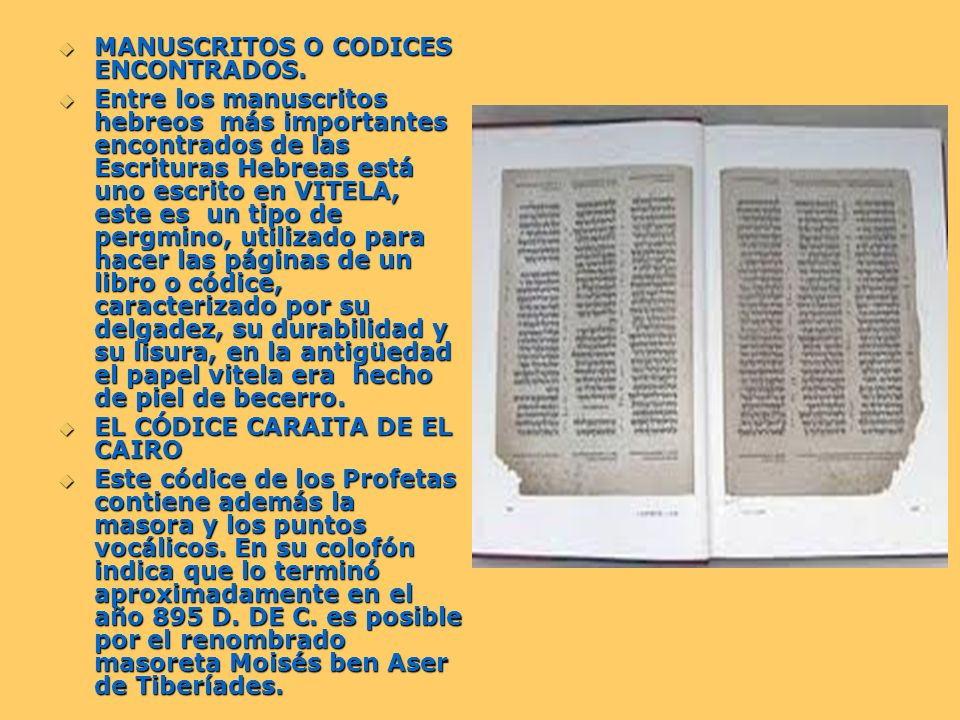 MANUSCRITOS O CODICES ENCONTRADOS.