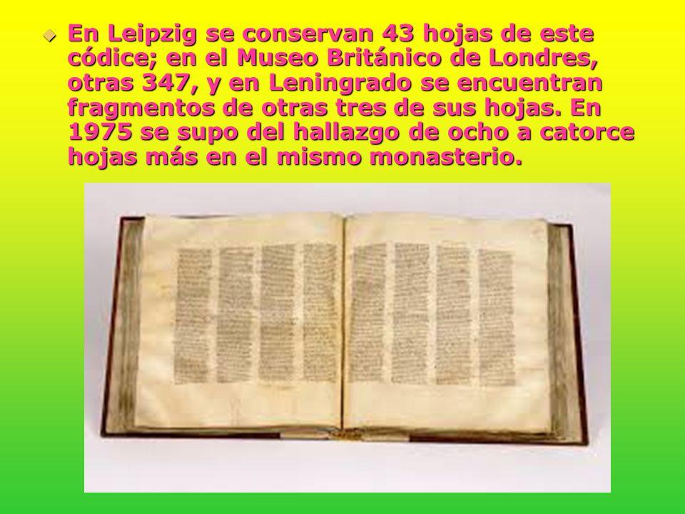 En Leipzig se conservan 43 hojas de este códice; en el Museo Británico de Londres, otras 347, y en Leningrado se encuentran fragmentos de otras tres de sus hojas.