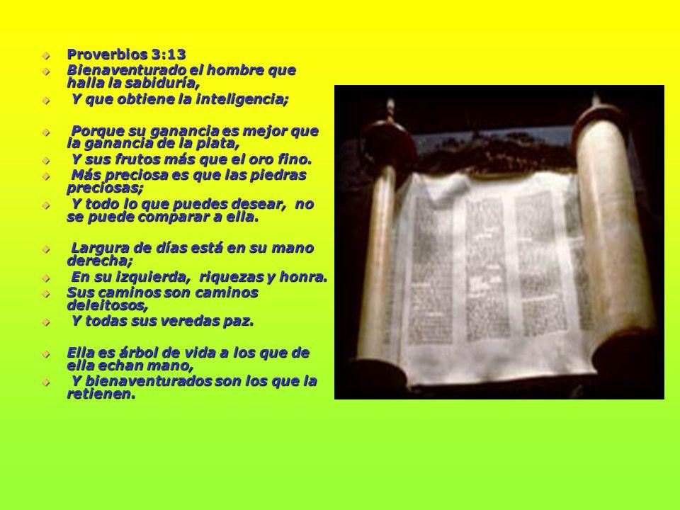 Proverbios 3:13 Bienaventurado el hombre que halla la sabiduría, Y que obtiene la inteligencia;