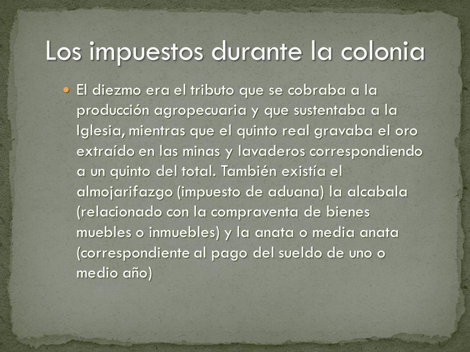 Los impuestos durante la colonia