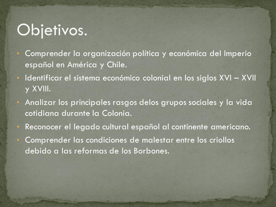 Objetivos. Comprender la organización política y económica del Imperio español en América y Chile.