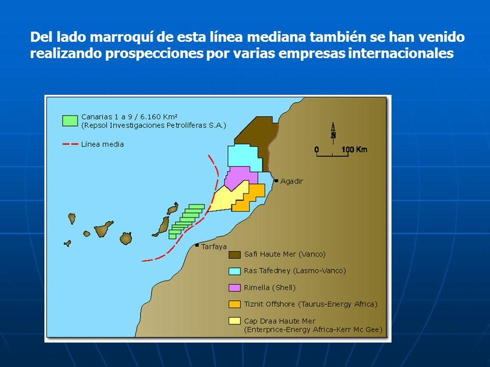 Del lado marroquí de esta línea mediana también se han venido realizando prospecciones por varias empresas internacionales