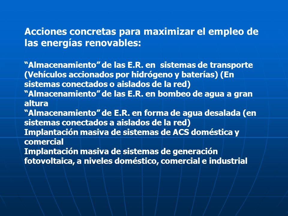 Acciones concretas para maximizar el empleo de las energías renovables:
