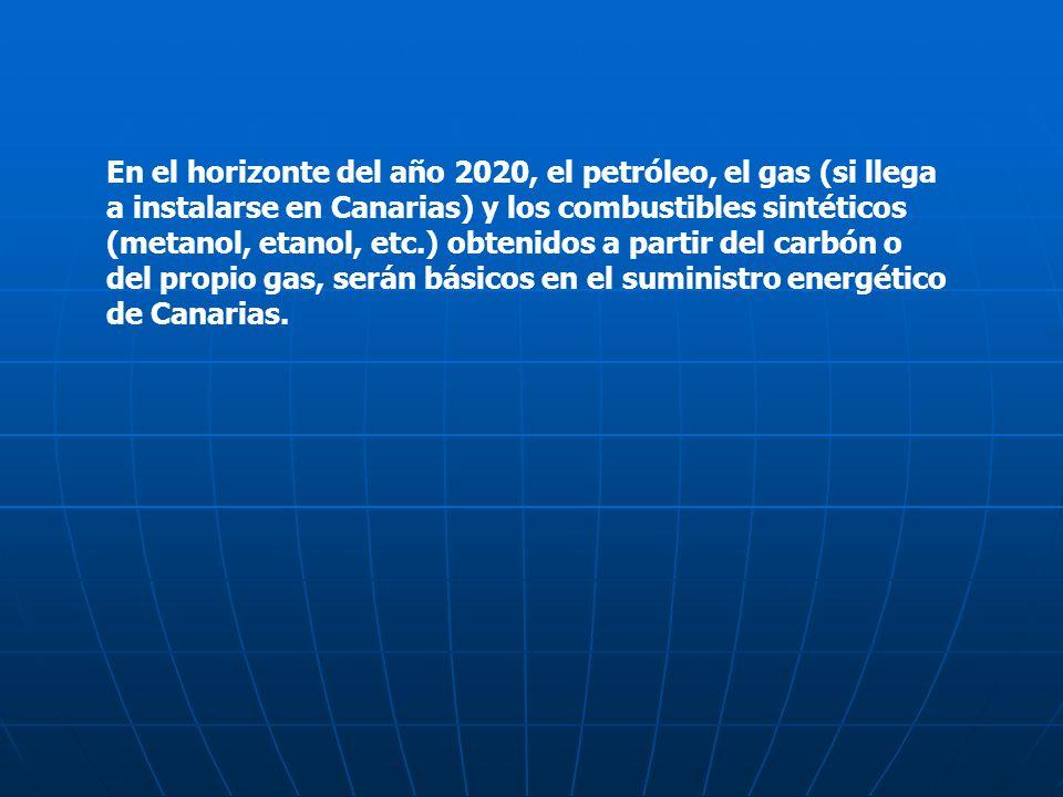 En el horizonte del año 2020, el petróleo, el gas (si llega a instalarse en Canarias) y los combustibles sintéticos (metanol, etanol, etc.) obtenidos a partir del carbón o del propio gas, serán básicos en el suministro energético de Canarias.
