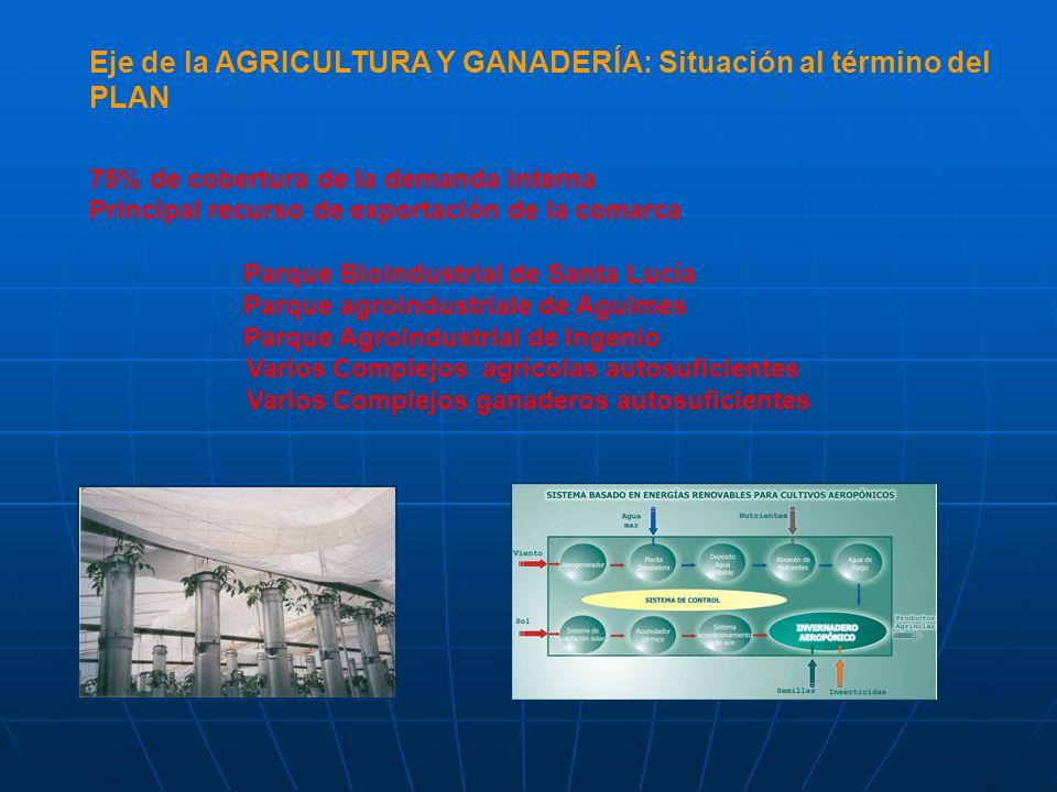 Eje de la AGRICULTURA Y GANADERÍA: Situación al término del PLAN