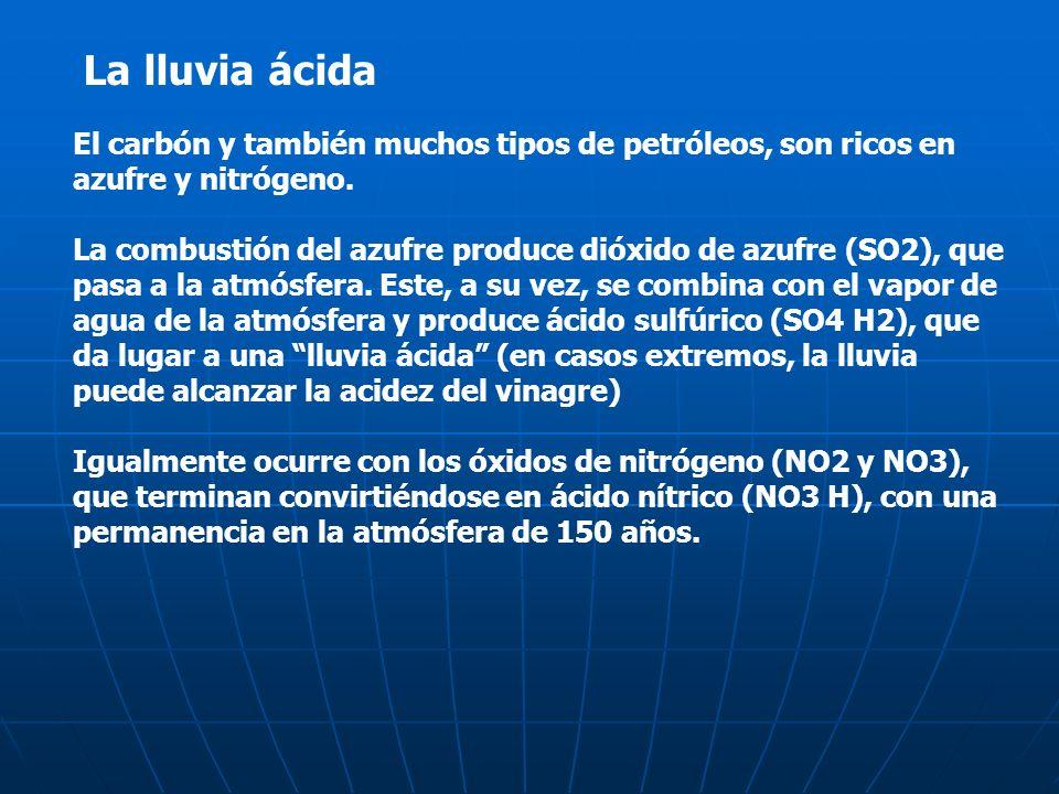 La lluvia ácida El carbón y también muchos tipos de petróleos, son ricos en azufre y nitrógeno.