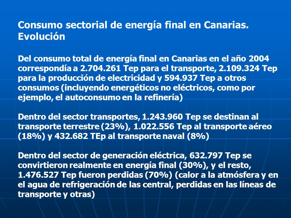 Consumo sectorial de energía final en Canarias. Evolución