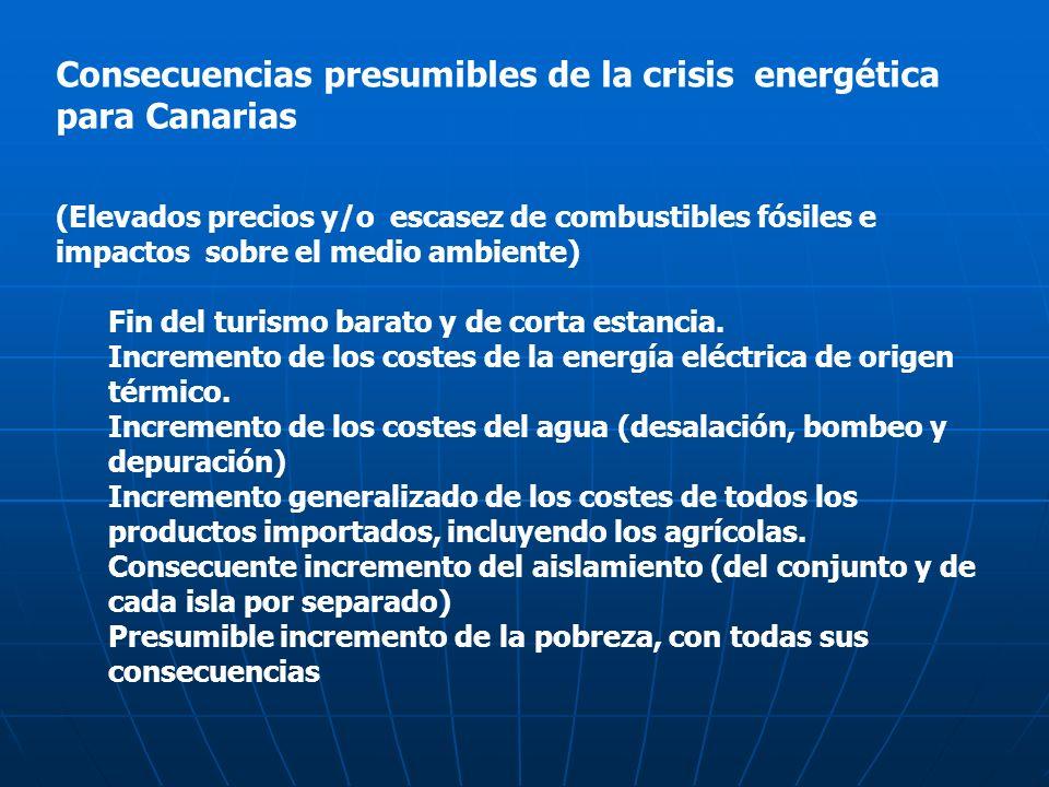 Consecuencias presumibles de la crisis energética para Canarias