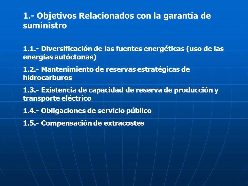 1.- Objetivos Relacionados con la garantía de suministro