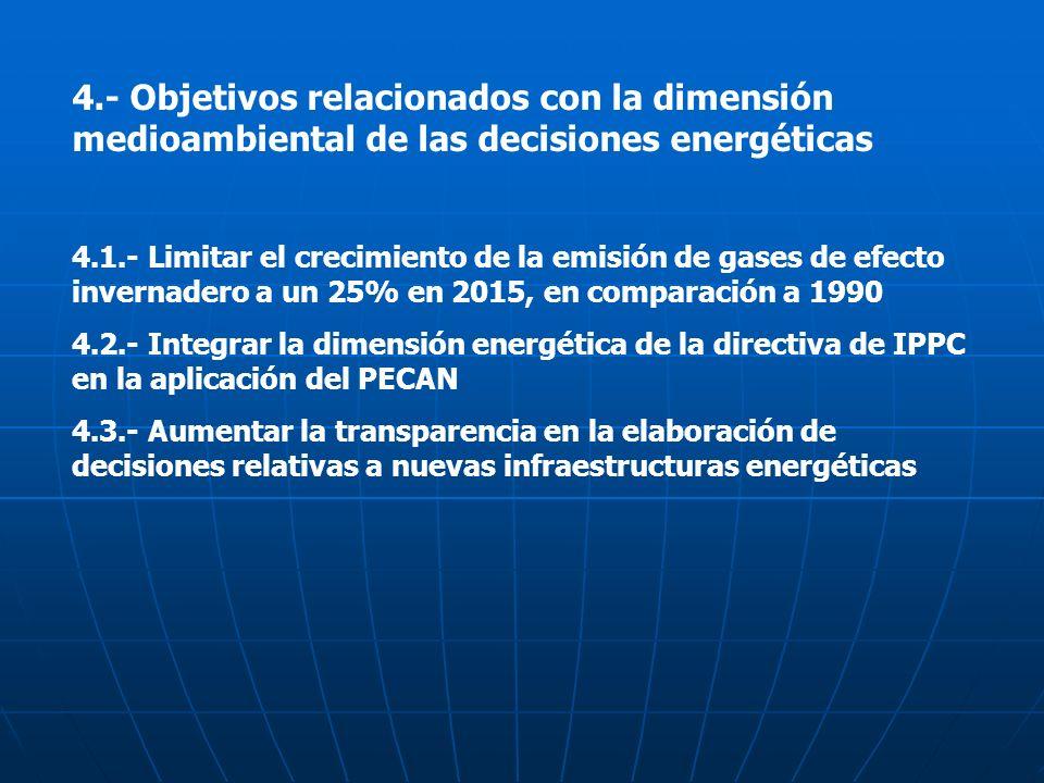 4.- Objetivos relacionados con la dimensión medioambiental de las decisiones energéticas
