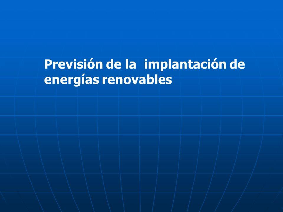 Previsión de la implantación de energías renovables