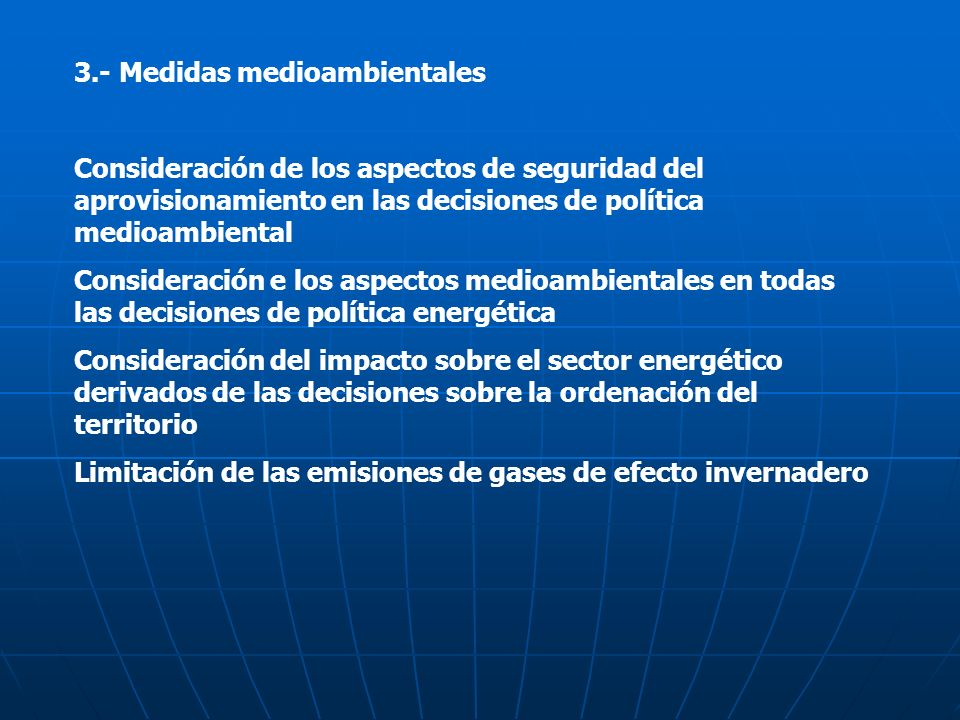 3.- Medidas medioambientales