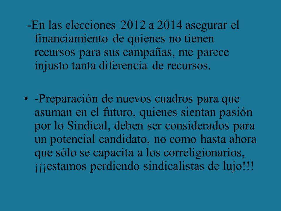 -En las elecciones 2012 a 2014 asegurar el financiamiento de quienes no tienen recursos para sus campañas, me parece injusto tanta diferencia de recursos.