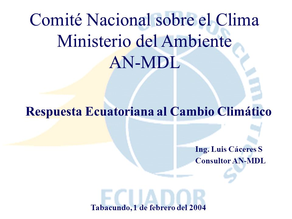 Comité Nacional sobre el Clima Ministerio del Ambiente AN-MDL