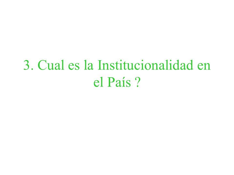 3. Cual es la Institucionalidad en el País