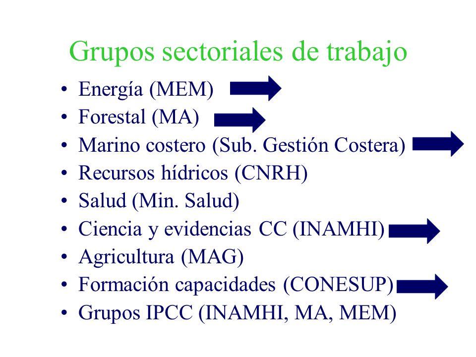 Grupos sectoriales de trabajo