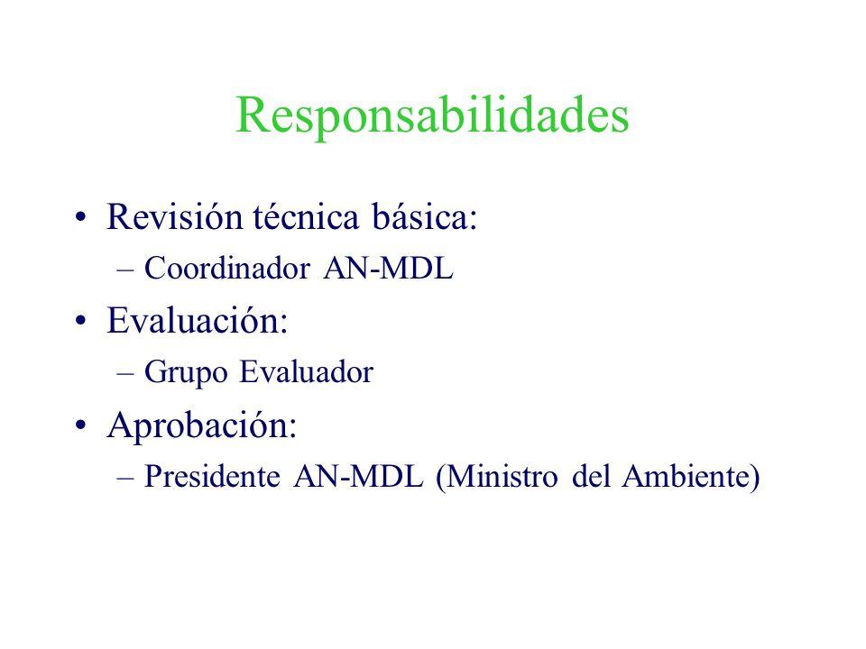 Responsabilidades Revisión técnica básica: Evaluación: Aprobación: