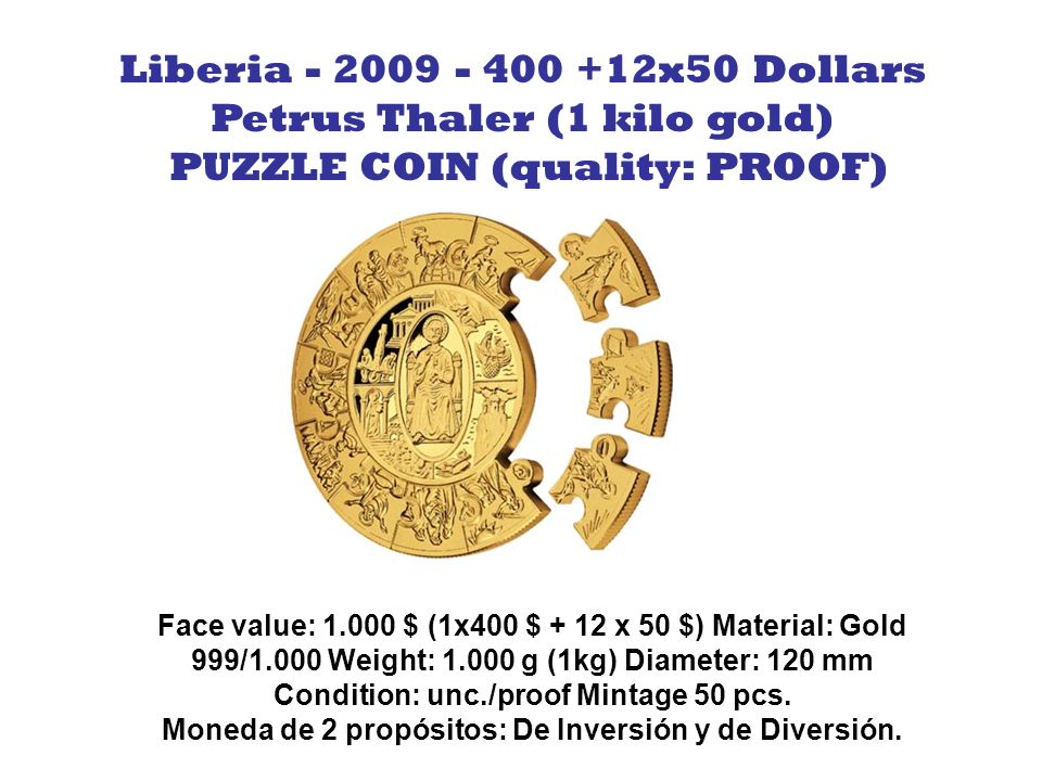 Petrus Thaler (1 kilo gold) PUZZLE COIN (quality: PROOF)