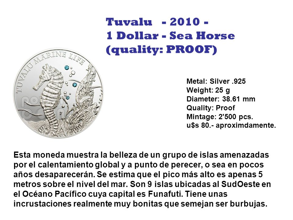 Tuvalu - 2010 - 1 Dollar - Sea Horse (quality: PROOF)