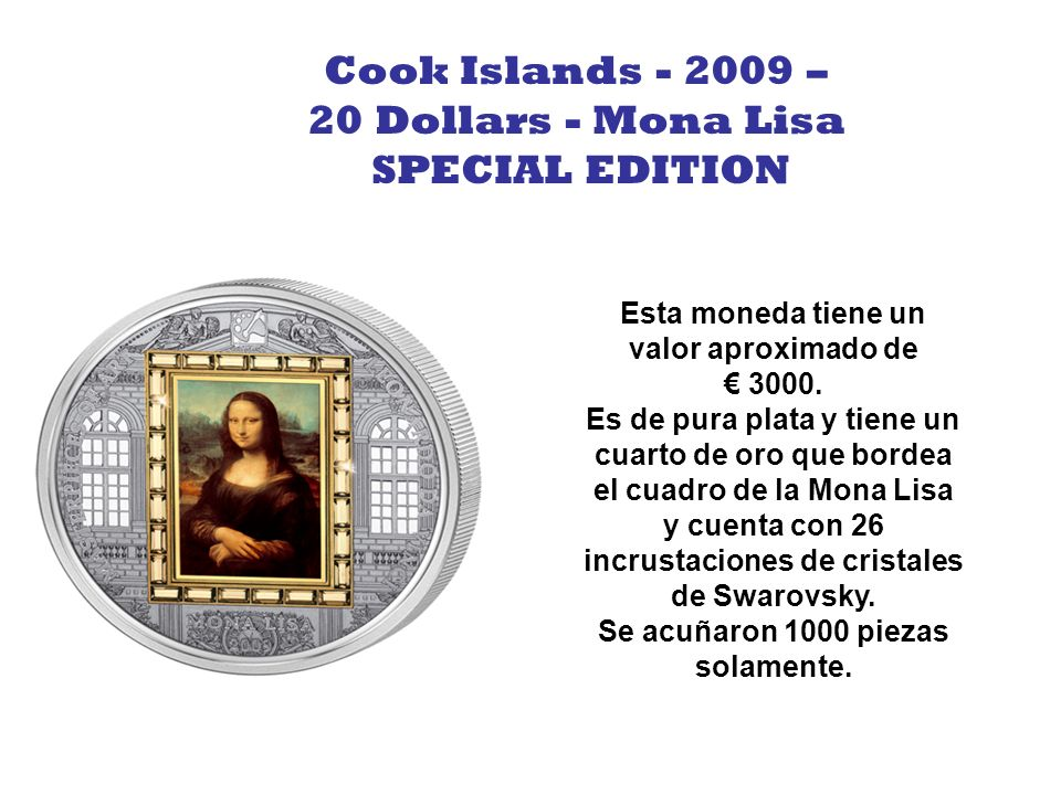 Cook Islands - 2009 – 20 Dollars - Mona Lisa SPECIAL EDITION