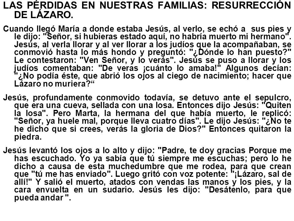 LAS PÉRDIDAS EN NUESTRAS FAMILIAS: RESURRECCIÓN DE LÁZARO.