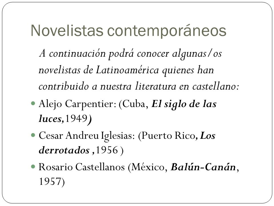Novelistas contemporáneos