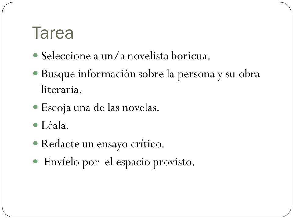 Tarea Seleccione a un/a novelista boricua.