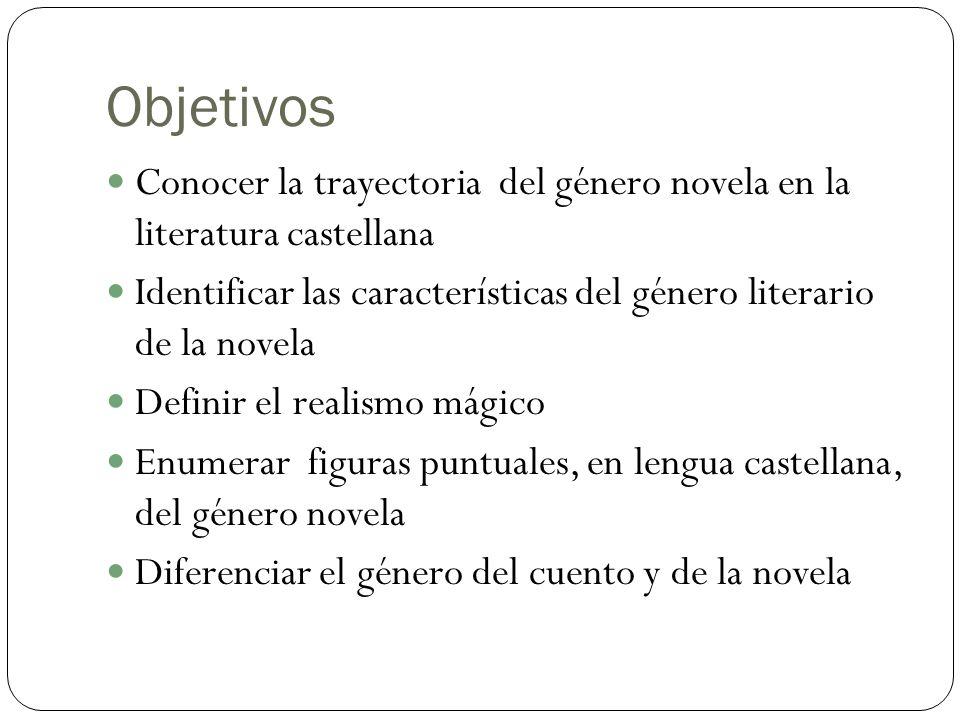 Objetivos Conocer la trayectoria del género novela en la literatura castellana. Identificar las características del género literario de la novela.