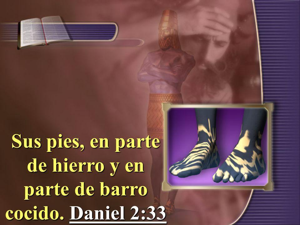 Sus pies, en parte de hierro y en parte de barro cocido. Daniel 2:33