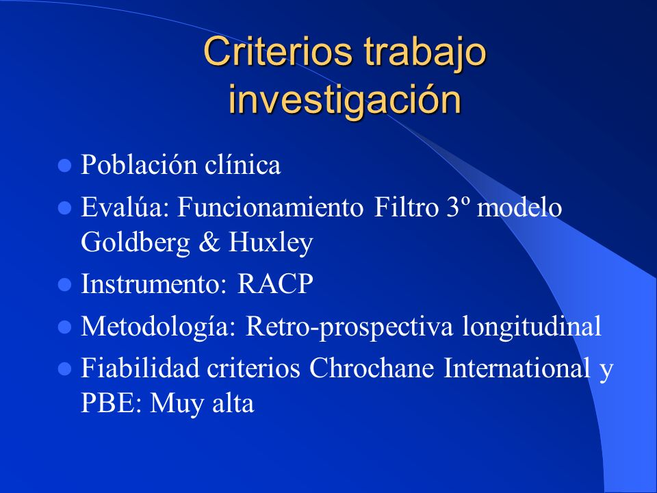 Criterios trabajo investigación