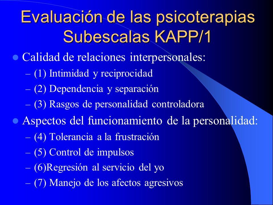 Evaluación de las psicoterapias Subescalas KAPP/1