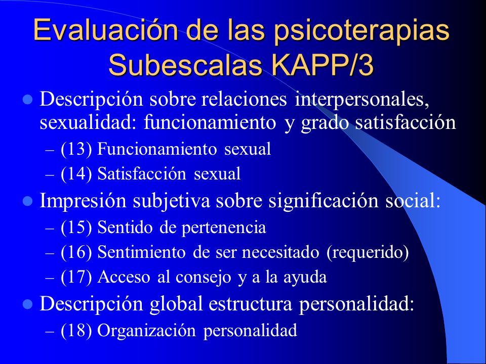Evaluación de las psicoterapias Subescalas KAPP/3