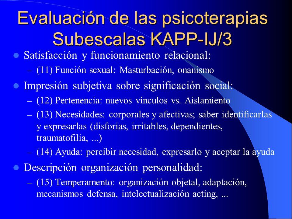 Evaluación de las psicoterapias Subescalas KAPP-IJ/3