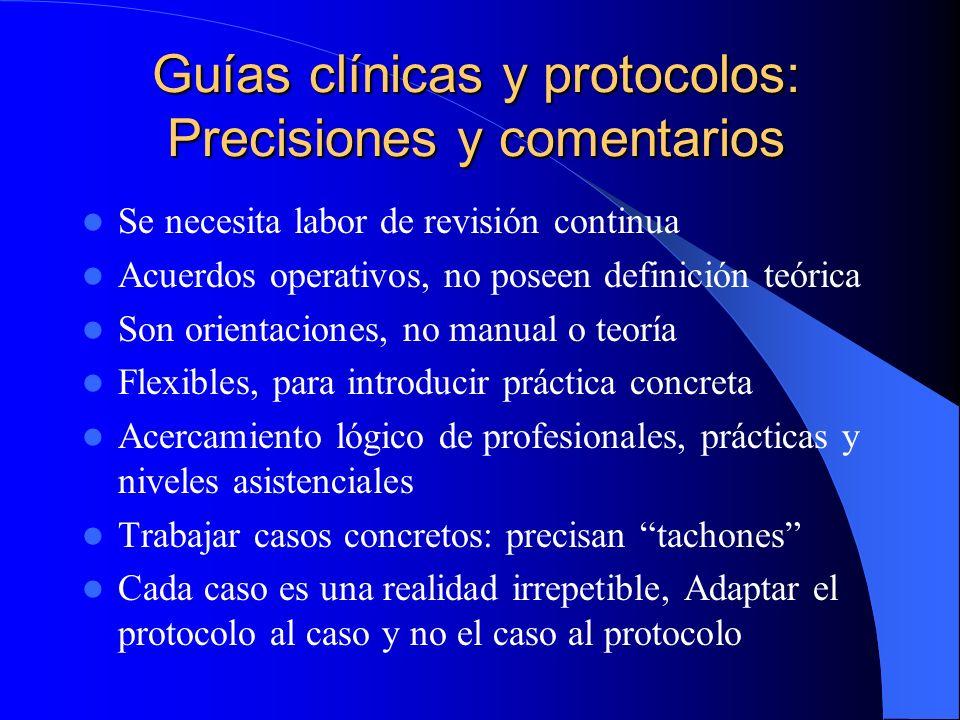 Guías clínicas y protocolos: Precisiones y comentarios