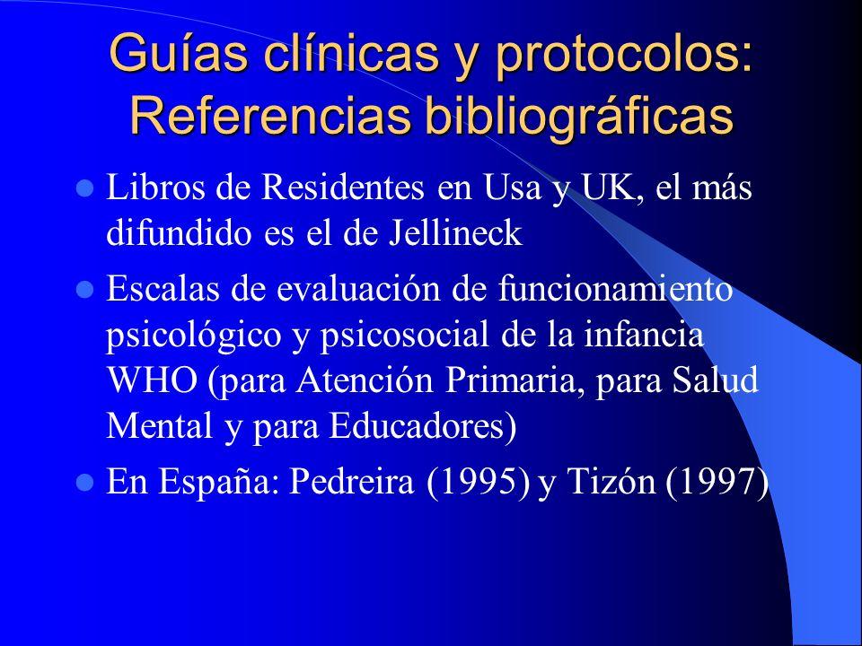 Guías clínicas y protocolos: Referencias bibliográficas