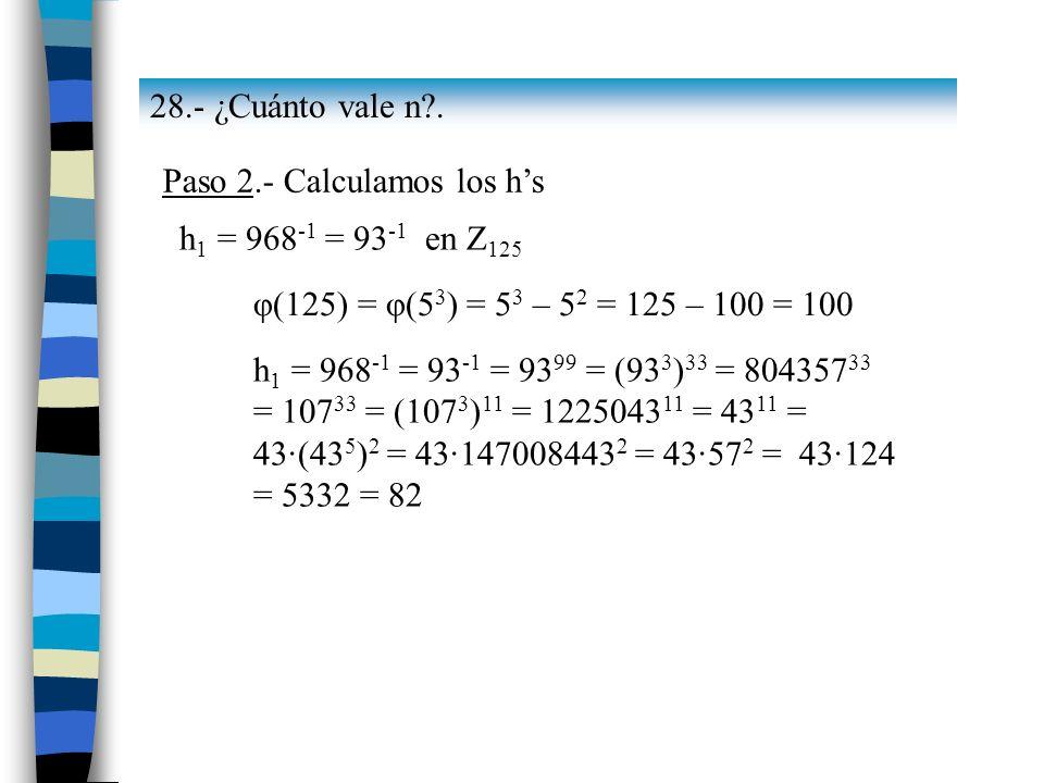 28.- ¿Cuánto vale n . Paso 2.- Calculamos los h's. h1 = 968-1 = 93-1 en Z125. φ(125) = φ(53) = 53 – 52 = 125 – 100 = 100.