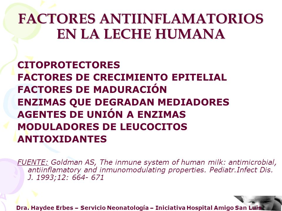 FACTORES ANTIINFLAMATORIOS EN LA LECHE HUMANA
